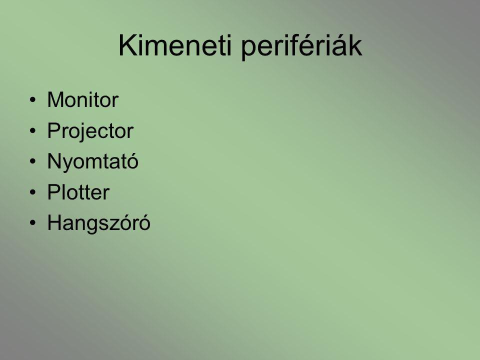 Kimeneti perifériák Monitor Projector Nyomtató Plotter Hangszóró