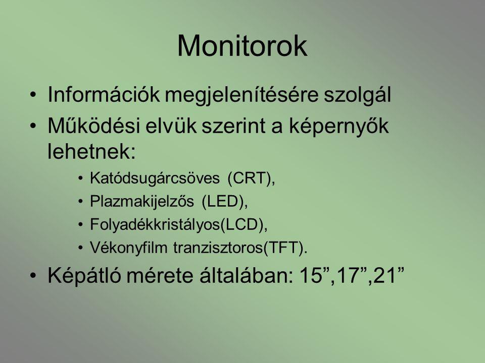 Monitorok Információk megjelenítésére szolgál