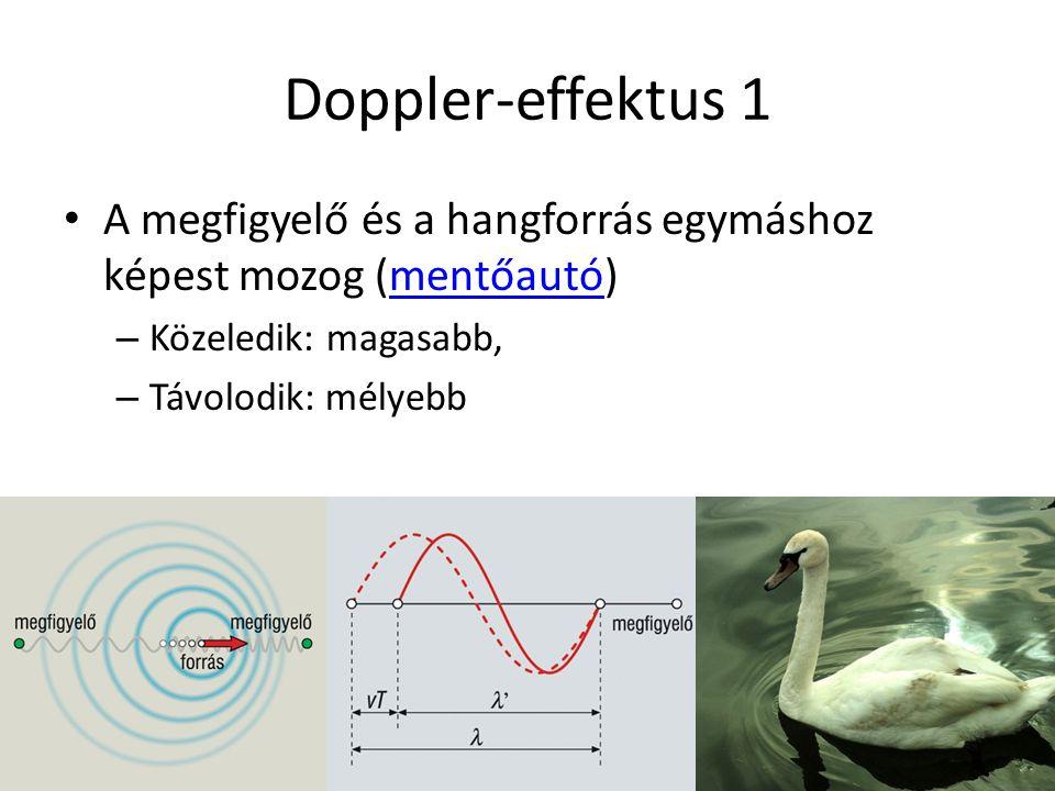 Doppler-effektus 1 A megfigyelő és a hangforrás egymáshoz képest mozog (mentőautó) Közeledik: magasabb,