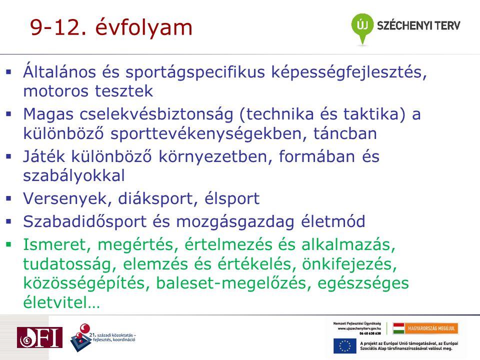 9-12. évfolyam Általános és sportágspecifikus képességfejlesztés, motoros tesztek.