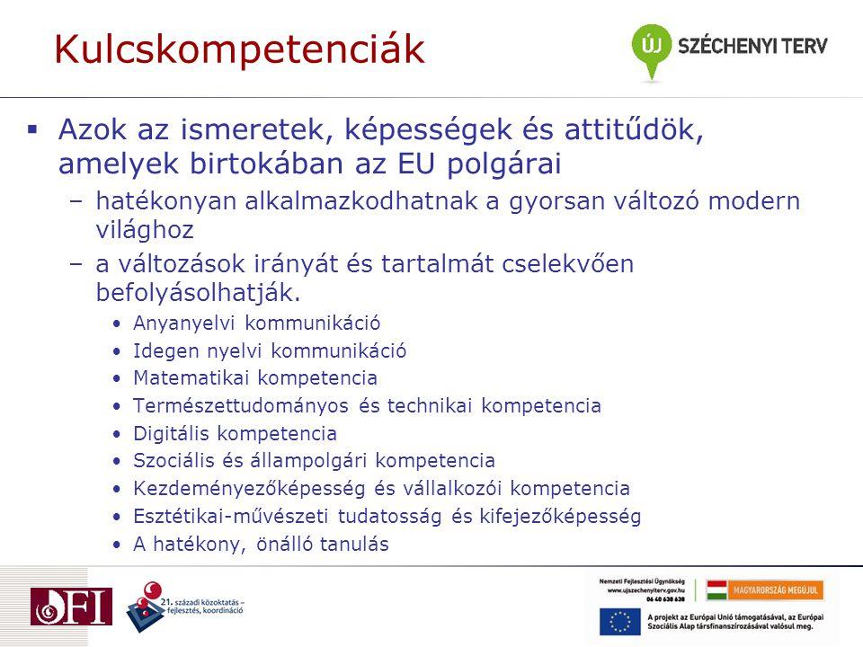 Kulcskompetenciák Azok az ismeretek, képességek és attitűdök, amelyek birtokában az EU polgárai.