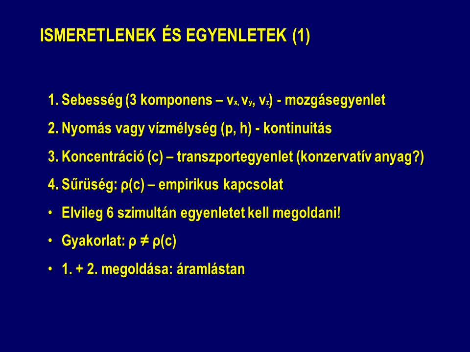 ISMERETLENEK ÉS EGYENLETEK (1)