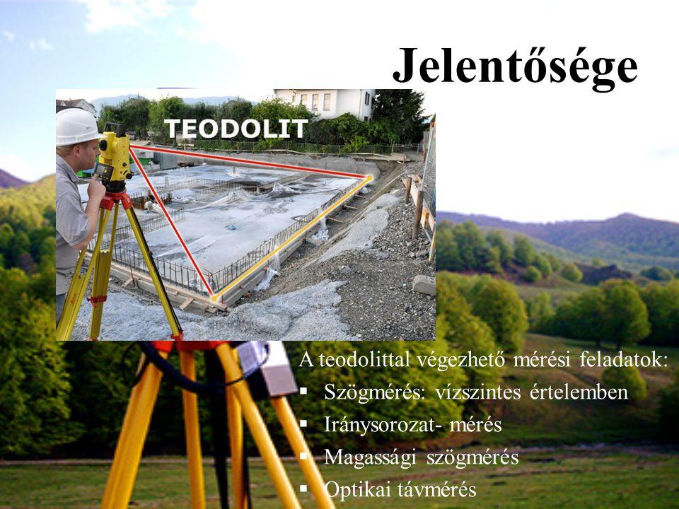 Jelentősége A teodolittal végezhető mérési feladatok: