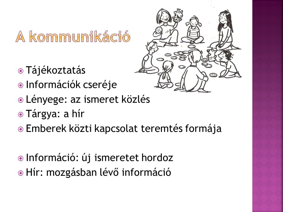 A kommunikáció Tájékoztatás Információk cseréje