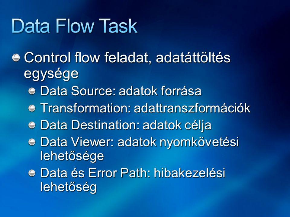 Data Flow Task Control flow feladat, adatáttöltés egysége