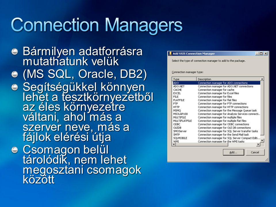 Connection Managers Bármilyen adatforrásra mutathatunk velük