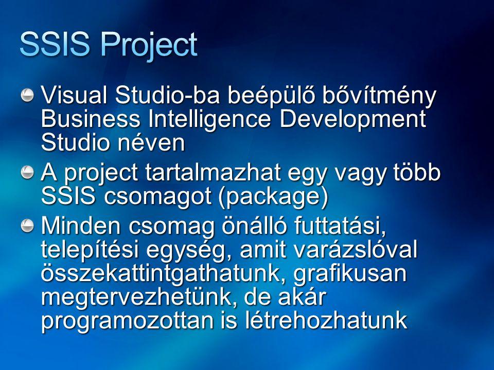 SSIS Project Visual Studio-ba beépülő bővítmény Business Intelligence Development Studio néven.