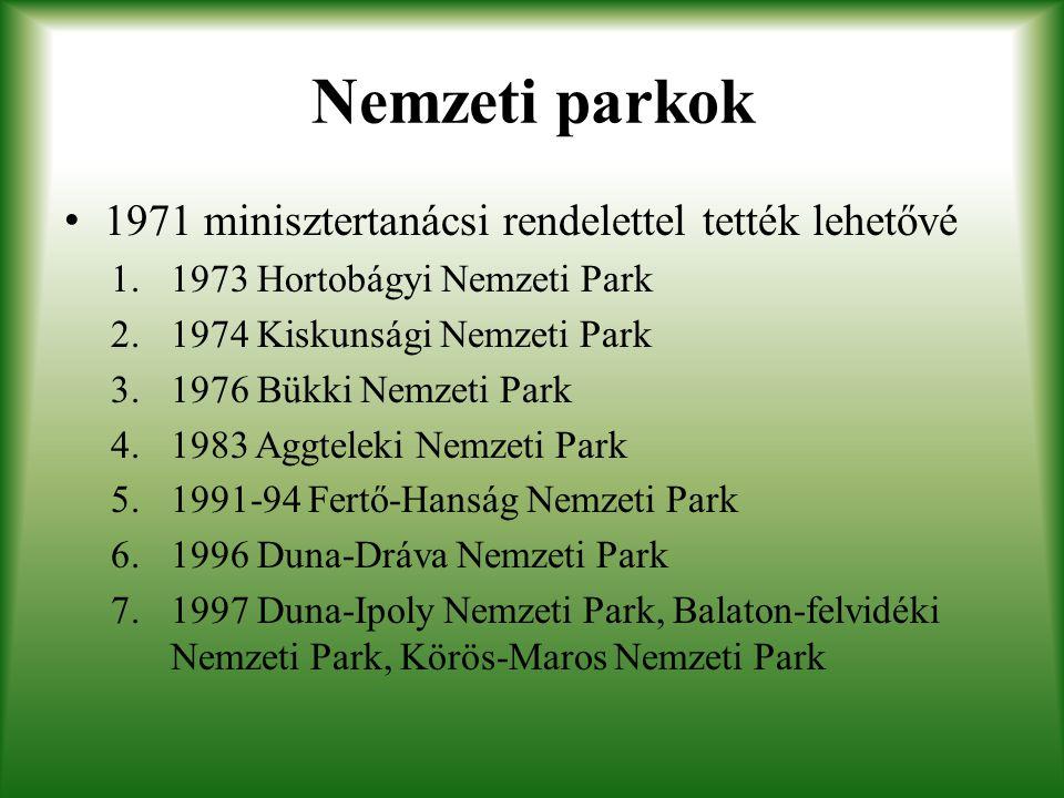 Nemzeti parkok 1971 minisztertanácsi rendelettel tették lehetővé