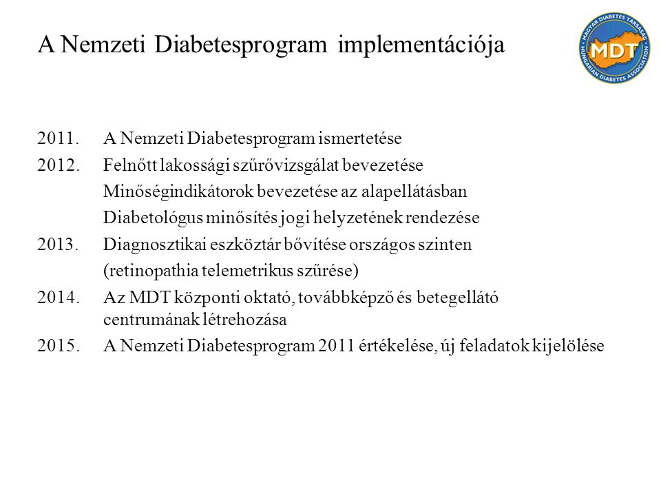 A Nemzeti Diabetesprogram implementációja