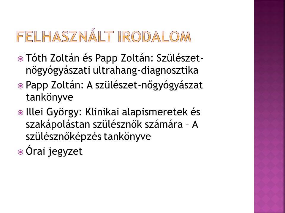 Felhasznált irodalom Tóth Zoltán és Papp Zoltán: Szülészet- nőgyógyászati ultrahang-diagnosztika. Papp Zoltán: A szülészet-nőgyógyászat tankönyve.