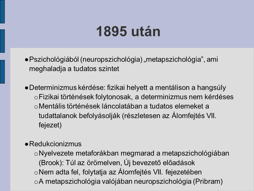 """1895 után Pszichológiából (neuropszichológia) """"metapszichológia , ami meghaladja a tudatos szintet."""