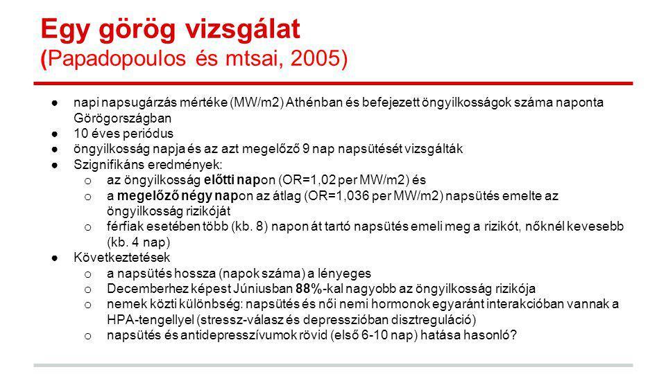 Egy görög vizsgálat (Papadopoulos és mtsai, 2005)