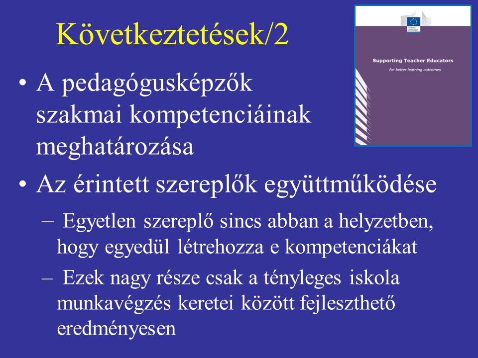 Következtetések/2 A pedagógusképzők szakmai kompetenciáinak meghatározása. Az érintett szereplők együttműködése.