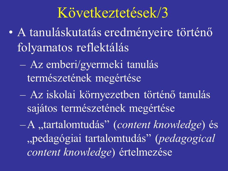 Következtetések/3 A tanuláskutatás eredményeire történő folyamatos reflektálás. Az emberi/gyermeki tanulás természetének megértése.