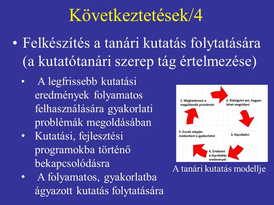 Következtetések/4 Felkészítés a tanári kutatás folytatására (a kutatótanári szerep tág értelmezése)
