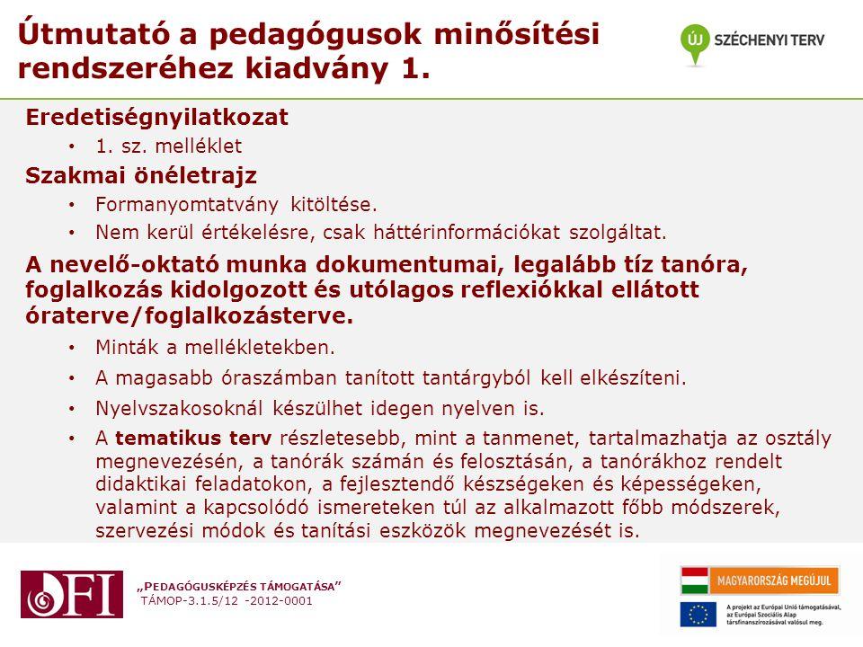 Útmutató a pedagógusok minősítési rendszeréhez kiadvány 1.