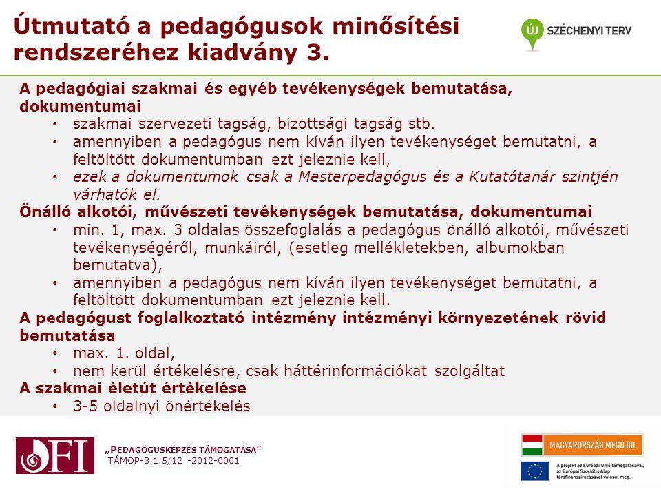 Útmutató a pedagógusok minősítési rendszeréhez kiadvány 3.