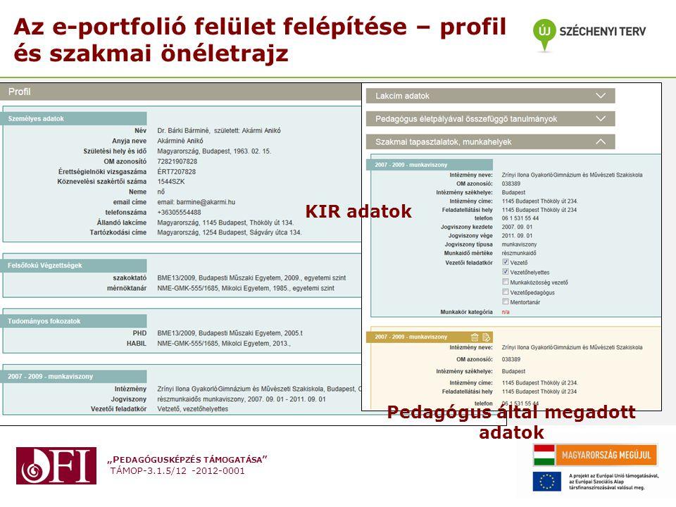 Az e-portfolió felület felépítése – profil és szakmai önéletrajz