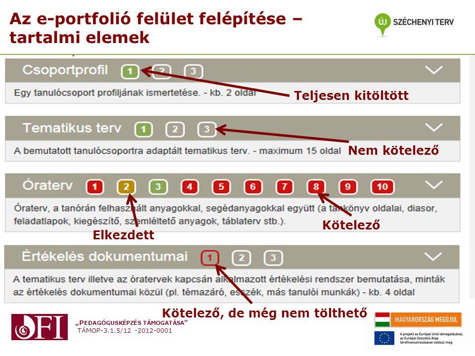 Az e-portfolió felület felépítése – tartalmi elemek