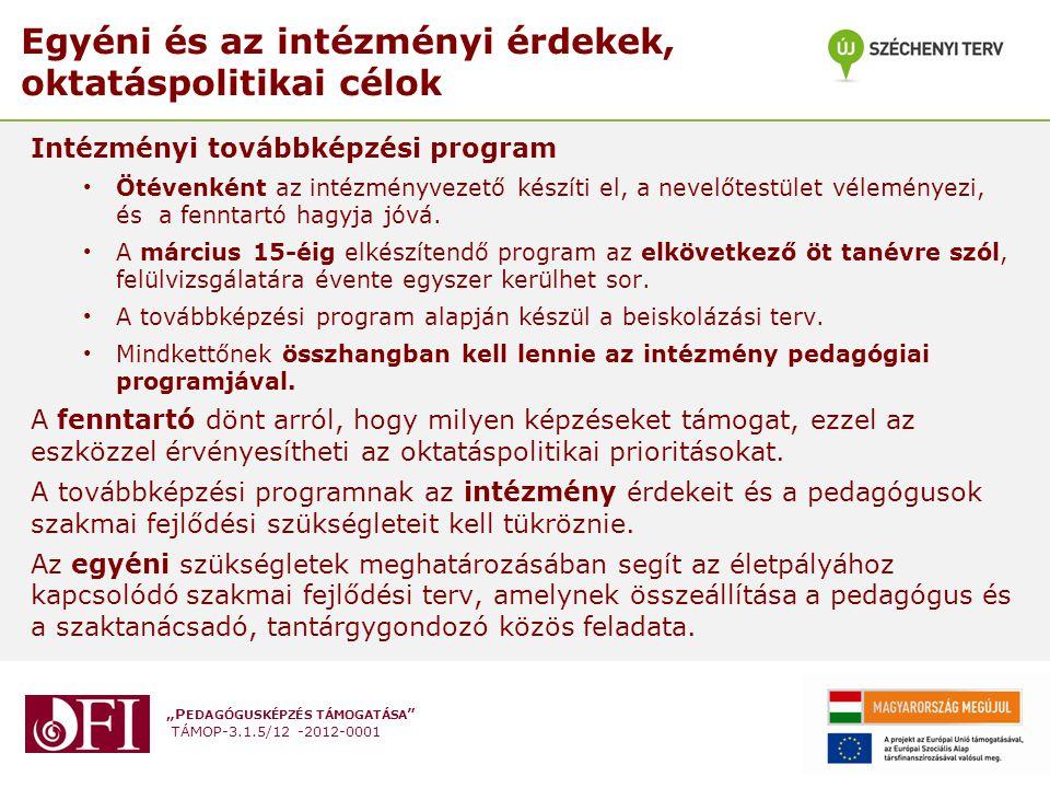 Egyéni és az intézményi érdekek, oktatáspolitikai célok