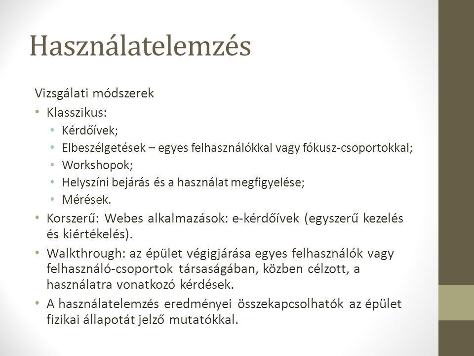 Használatelemzés Vizsgálati módszerek Klasszikus: