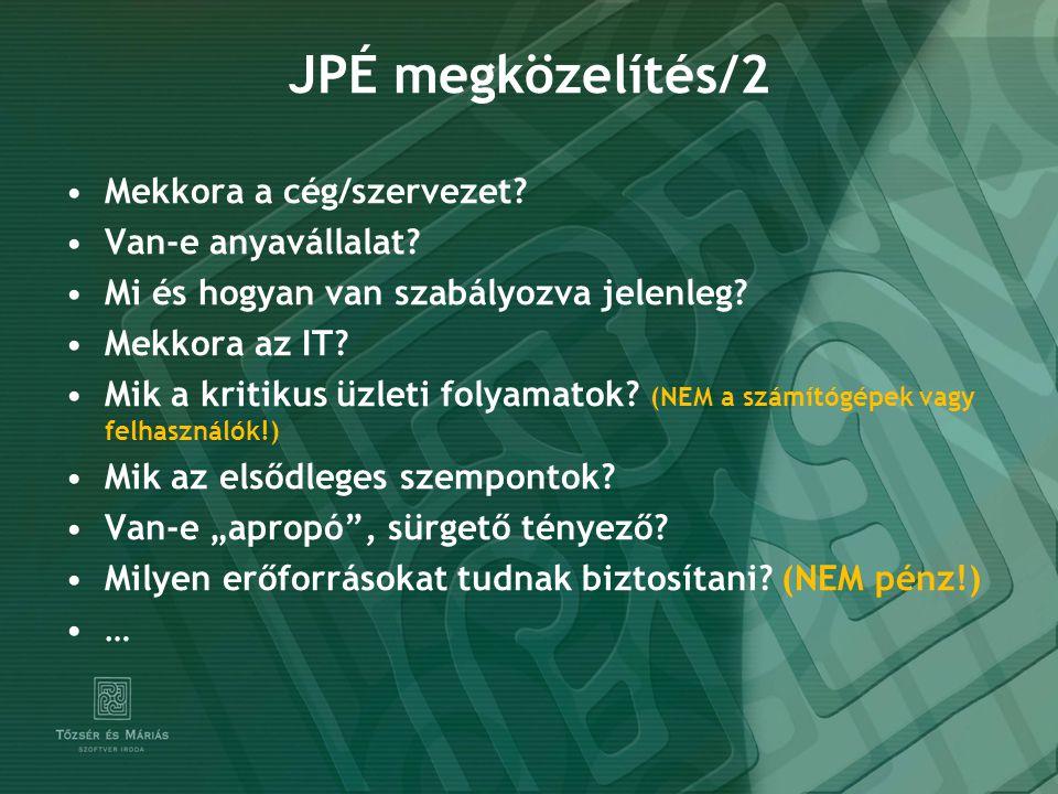 JPÉ megközelítés/2 Mekkora a cég/szervezet Van-e anyavállalat
