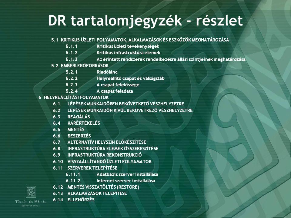 DR tartalomjegyzék - részlet