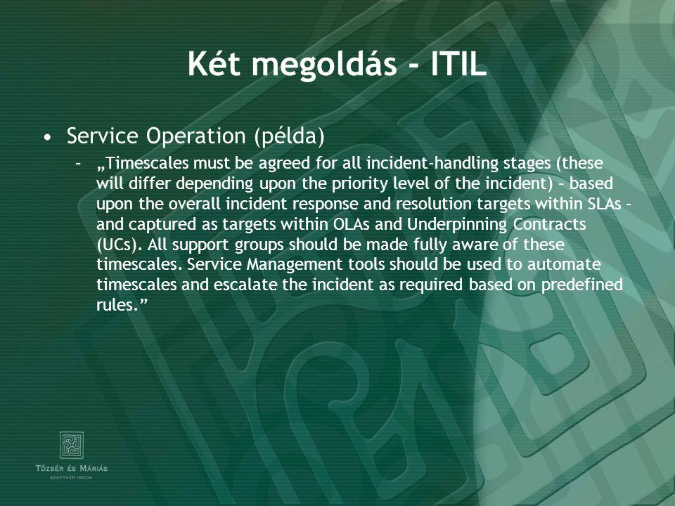 Két megoldás - ITIL Service Operation (példa)