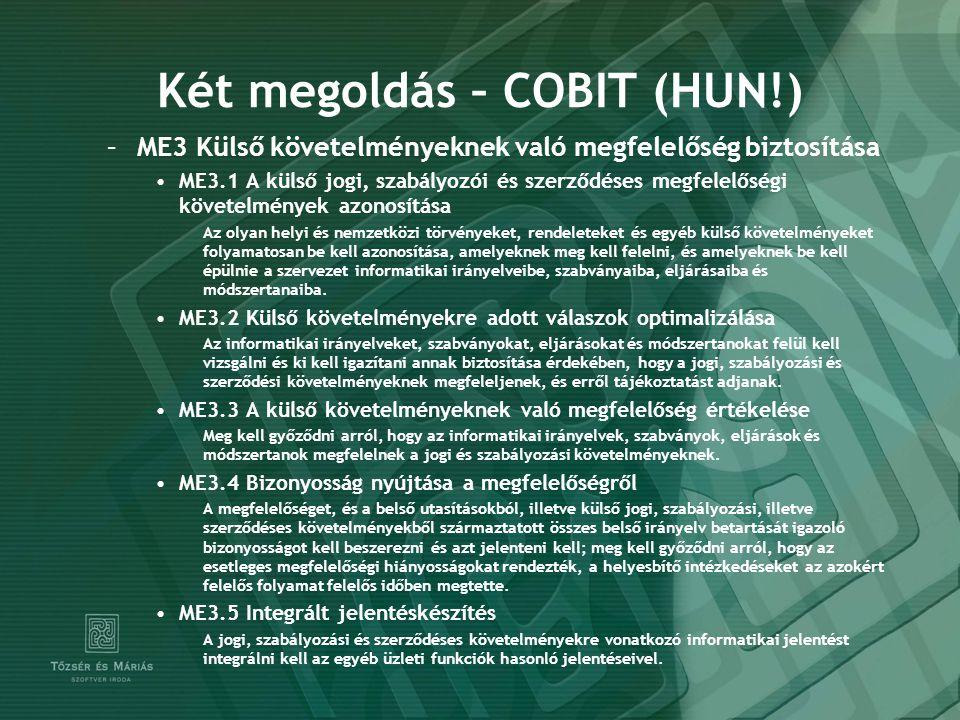 Két megoldás – COBIT (HUN!)