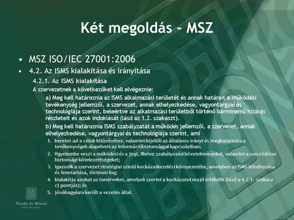 Két megoldás - MSZ MSZ ISO/IEC 27001:2006