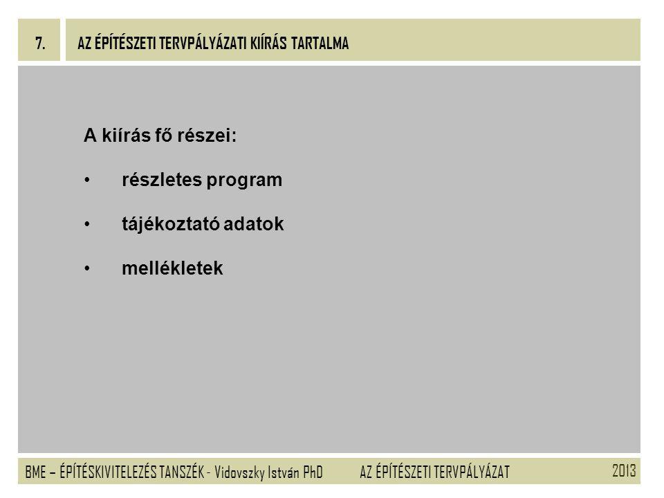A kiírás fő részei: részletes program tájékoztató adatok mellékletek