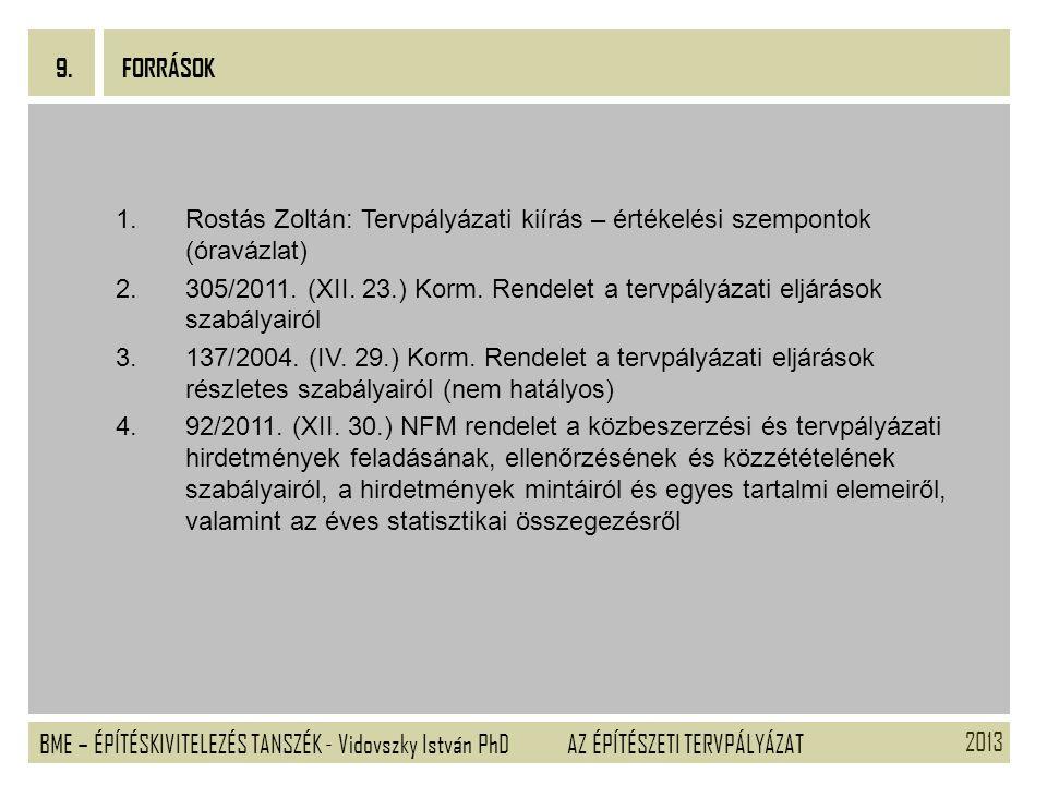 9. FORRÁSOK. Rostás Zoltán: Tervpályázati kiírás – értékelési szempontok (óravázlat)