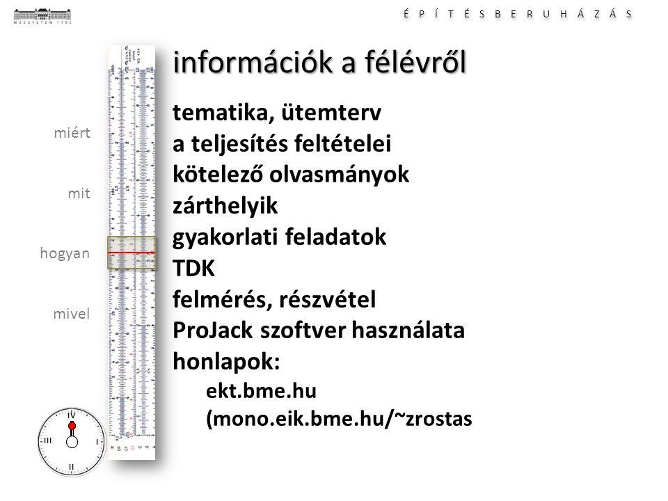 információk a félévről