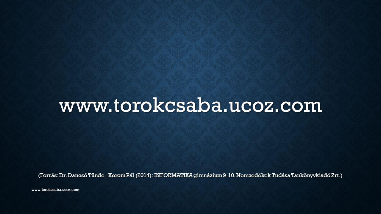www.torokcsaba.ucoz.com (Forrás: Dr. Dancsó Tünde - Korom Pál (2014): INFORMATIKA gimnázium 9-10. Nemzedékek Tudása Tankönyvkiadó Zrt.)