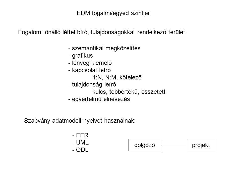 EDM fogalmi/egyed szintjei