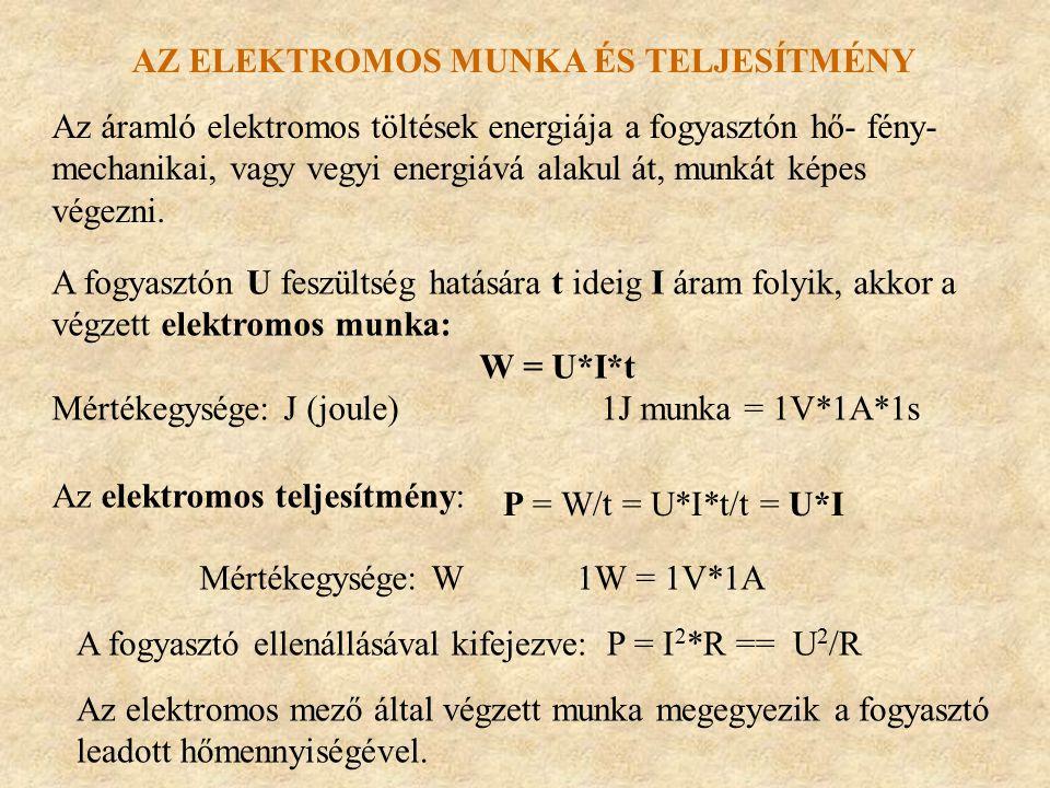 Az elektromos munka és teljesítmény