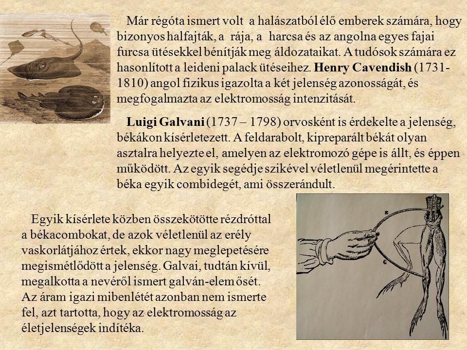 Már régóta ismert volt a halászatból élő emberek számára, hogy bizonyos halfajták, a rája, a harcsa és az angolna egyes fajai furcsa ütésekkel bénítják meg áldozataikat. A tudósok számára ez hasonlított a leideni palack ütéseihez. Henry Cavendish (1731-1810) angol fizikus igazolta a két jelenség azonosságát, és megfogalmazta az elektromosság intenzitását.