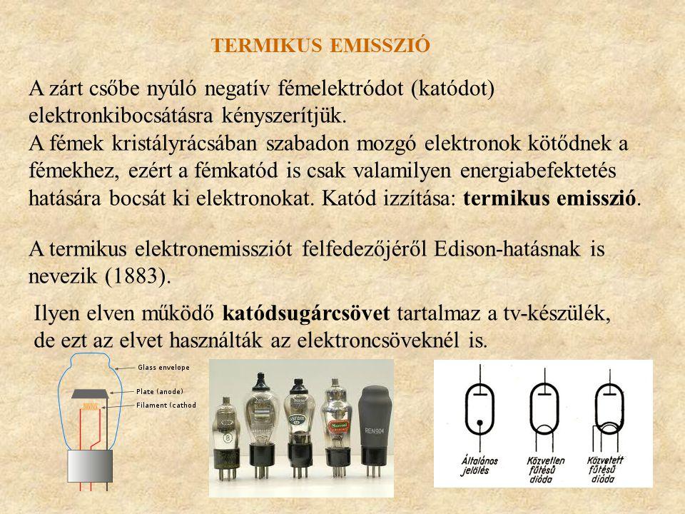 Termikus emisszió A zárt csőbe nyúló negatív fémelektródot (katódot) elektronkibocsátásra kényszerítjük.