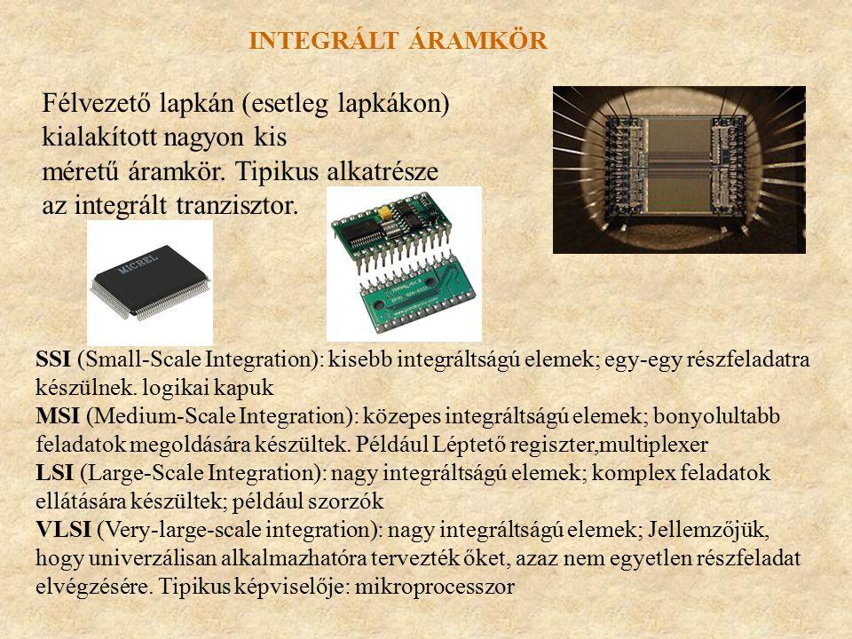 Integrált áramkör Félvezető lapkán (esetleg lapkákon) kialakított nagyon kis méretű áramkör. Tipikus alkatrésze az integrált tranzisztor.
