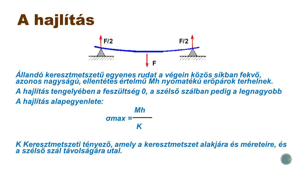 A hajlítás Állandó keresztmetszetű egyenes rudat a végein közös síkban fekvő, azonos nagyságú, ellentétes értelmű Mh nyomatékú erőpárok terhelnek.
