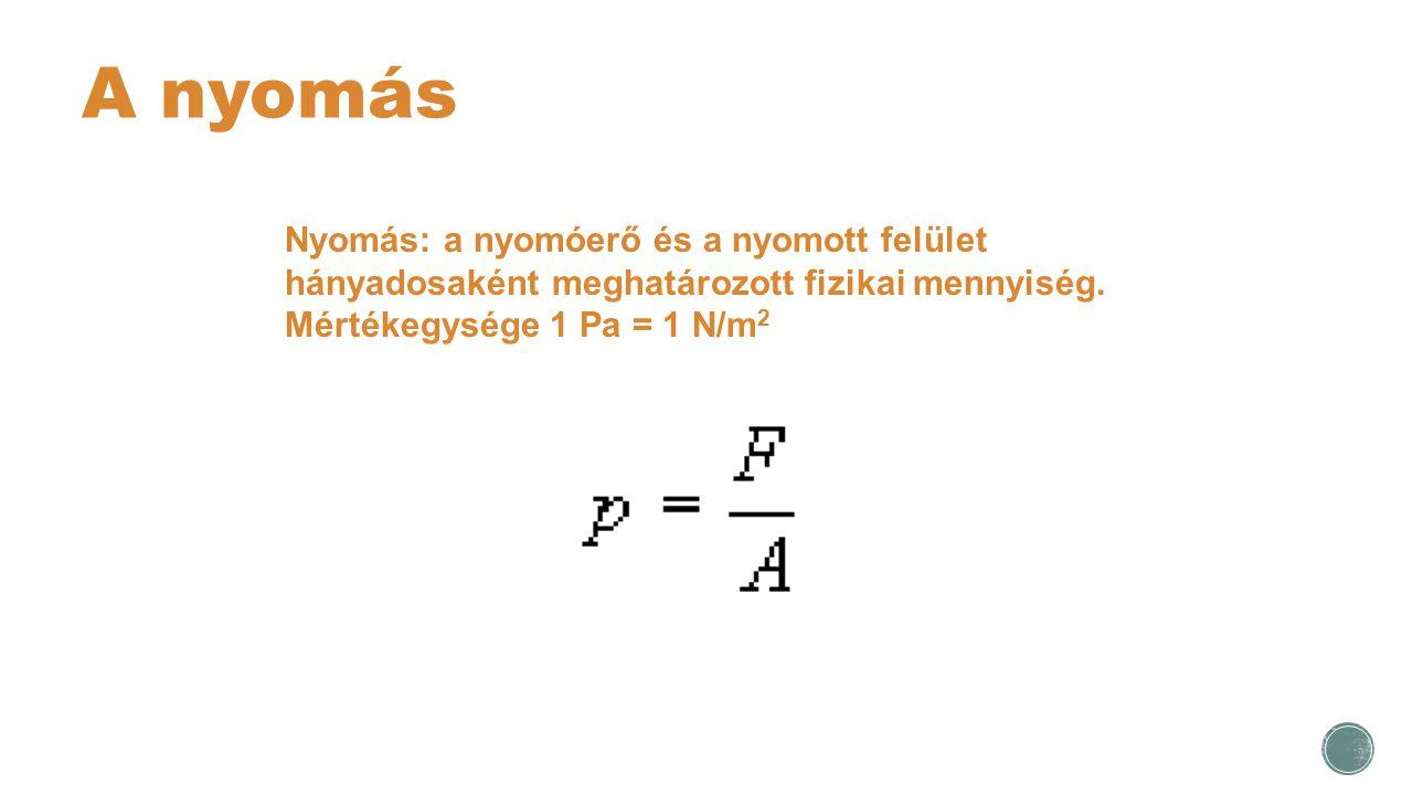 A nyomás Nyomás: a nyomóerő és a nyomott felület hányadosaként meghatározott fizikai mennyiség.