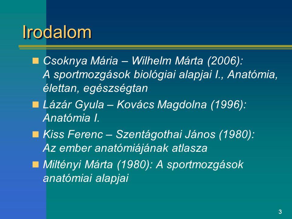 Irodalom Csoknya Mária – Wilhelm Márta (2006): A sportmozgások biológiai alapjai I., Anatómia, élettan, egészségtan.