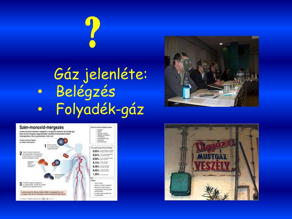 Gáz jelenléte: Belégzés Folyadék-gáz