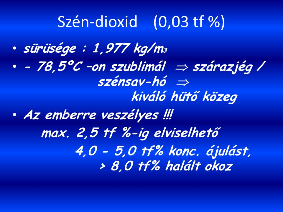 Szén-dioxid (0,03 tf %) sürüsége : 1,977 kg/m3