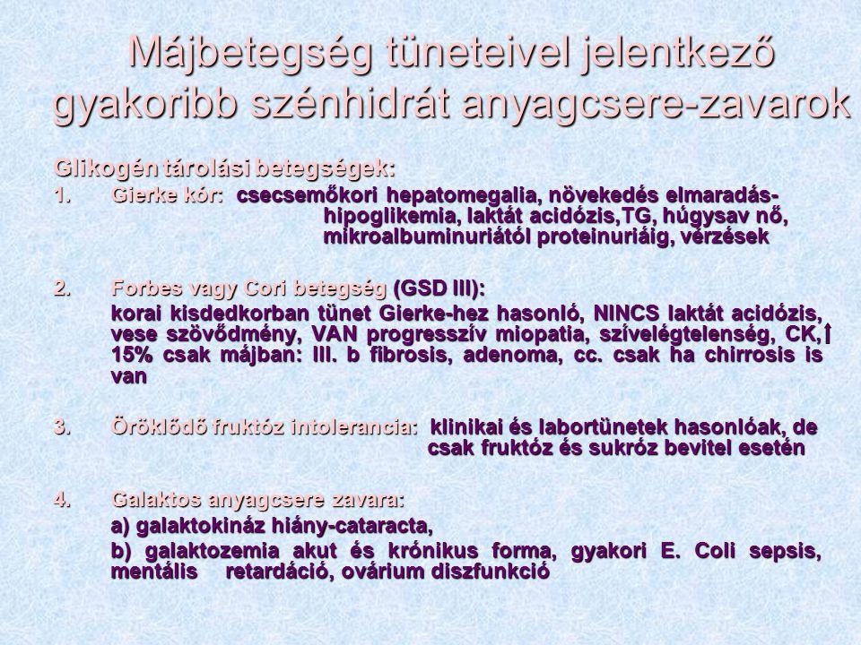 Májbetegség tüneteivel jelentkező gyakoribb szénhidrát anyagcsere-zavarok