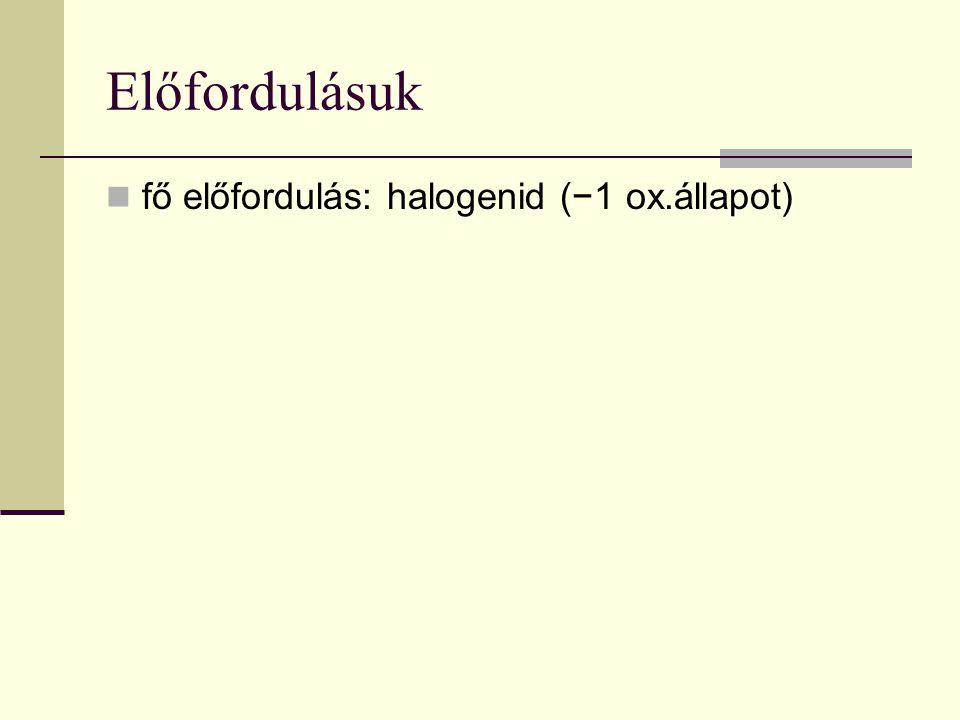Előfordulásuk fő előfordulás: halogenid (−1 ox.állapot)