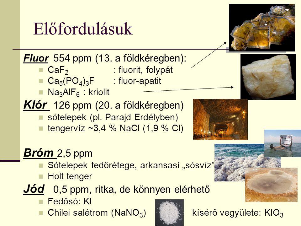 Előfordulásuk Klór 126 ppm (20. a földkéregben) Bróm 2,5 ppm