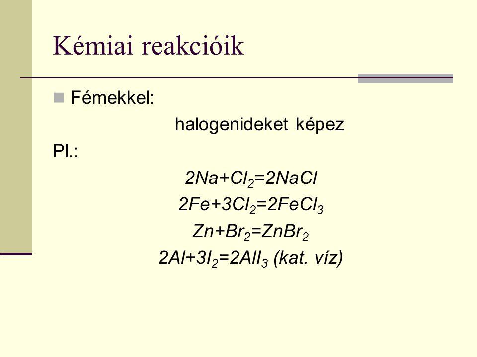 Kémiai reakcióik Fémekkel: halogenideket képez Pl.: 2Na+Cl2=2NaCl