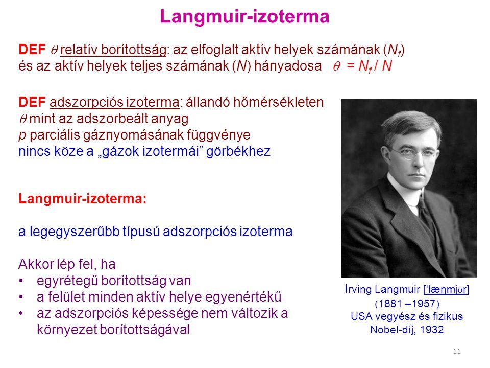 Langmuir-izoterma DEF  relatív borítottság: az elfoglalt aktív helyek számának (Nf) és az aktív helyek teljes számának (N) hányadosa  = Nf / N.
