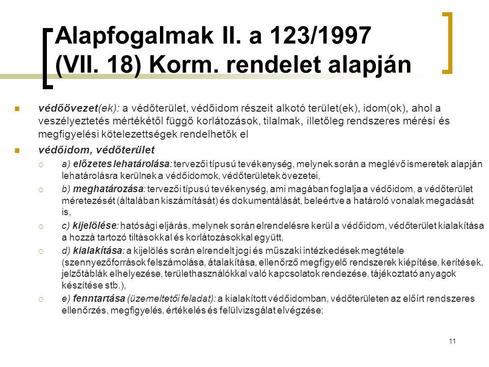 Alapfogalmak II. a 123/1997 (VII. 18) Korm. rendelet alapján